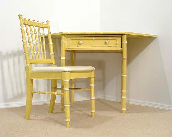 Faux Bamboo Hollywood Regency Yellow Corner Desk Set