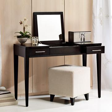 Black narrow leg two drawer vanity for Skinny vanity table