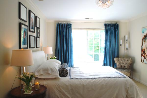 Blue Curtains Transitional Bedroom Benjamin Moore