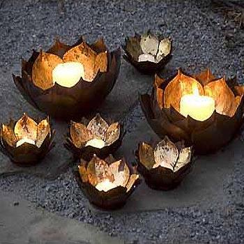 Mothology, The Science of Style, Metal Lotus Flower Candle Bowls