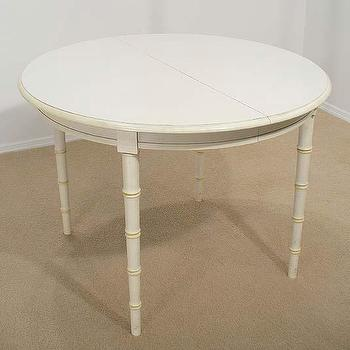 FAUX BAMBOO white DINING TABLE Hollywood Regency, eBay (item 200340243174 end time May-15-09 19:38:00 PDT)
