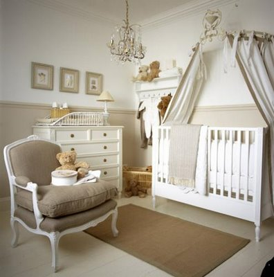 serene gender neutral nursery linen french bergere chair white crib chair rail crystal chandelier white changing table art and rug - Pottery Barn Babies Room