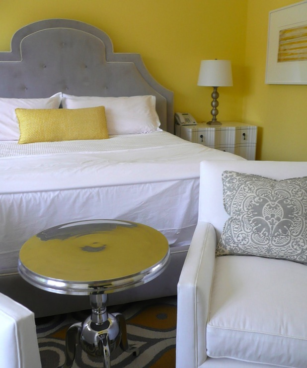 Yellow and Gray Bedroom - Contemporary - bedroom - Giannetti ...