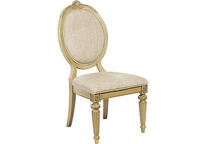 Marvelous Cindy Crawford Home Villa Formal Gold And Beige Upholstered Side Chair
