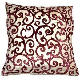 Velvet Lattice Applique Pillow, Gold/ Red (20 x 20