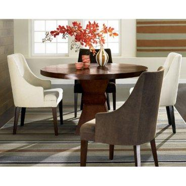 ophelia round brown wooden round dining table and 4 curved arm chairs 4 Chair Dining Table