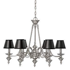 Matte nickel six light black shade chandelier aloadofball Images