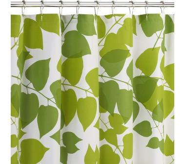 Green And White Leaves Shower Curtain