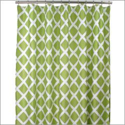 Green And White Diamond Pattern Shower Curtain