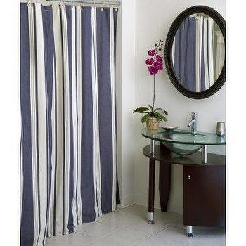 Delightful Blue And White Vertical Stripe Shower Curtain