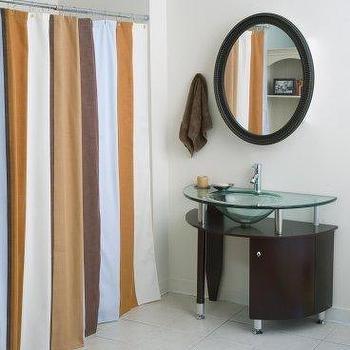 Brown And White Vertical Stripe Shower Curtain