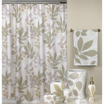 green and white leaves shower curtain. Black Bedroom Furniture Sets. Home Design Ideas