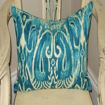 Handmade Housewares on Etsy, Turquoise Ikat Pillow by NolaFeather