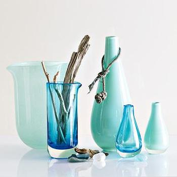 beach glass vases, west elm