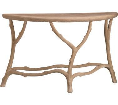 Tan faux bois demilune console table - Table console bois ...