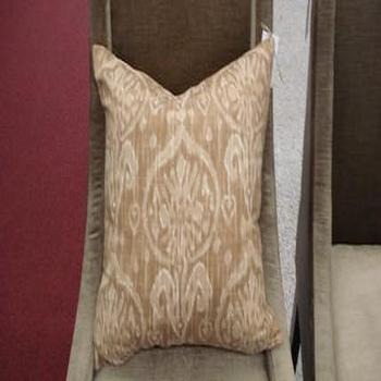 Handmade Housewares on Etsy, Sand and Cream Ikat Pillow by NolaFeather