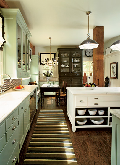 Green kitchen cabinets abinets cottage kitchen for Grey and green kitchen