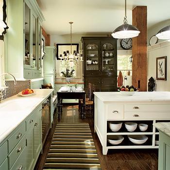Green Kitchen Cabinets, abinets, Cottage, kitchen