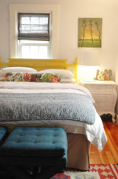 Yellow Headboard Eclectic Bedroom