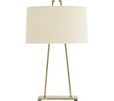 Tan Thin Body White Drum Table Lamp