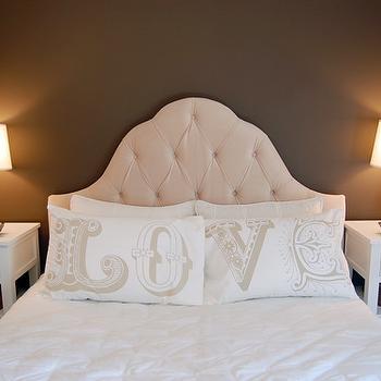 Velvet Tufted Headboard, Contemporary, bedroom, Benjamin Moore Clinton Brown