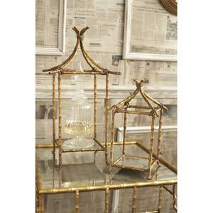 Golden Bamboo Set of Two Antiqued Mirror Pagoda Pedestals / Candleholders in Candleholders from Bellacor