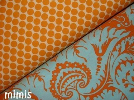Orange and Blue Dot Fabric