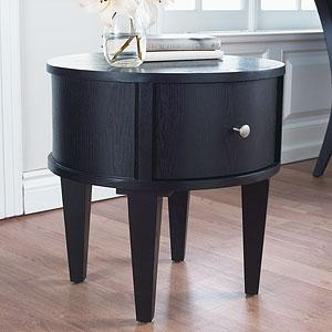 Black Round Drawer End Table