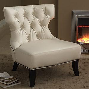 Cream Leather Tufted Armless Chair View Full Size