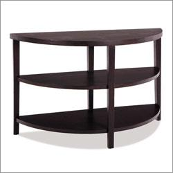 Three Tier Brown Demilune Console Table