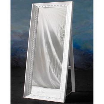 White Tiled Bone Floor Mirror