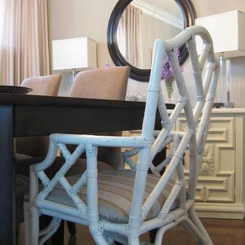 Faux Bamboo Chair, Contemporary, dining room, Benjamin Moore Stone Harbor, Wallpaper