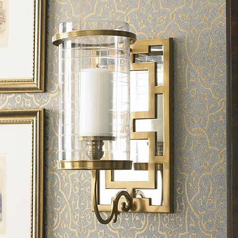 Fretwork Mirrored Sconce Brass Decorative Accessories