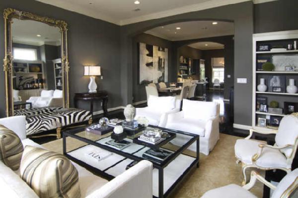 Zebra Bench Transitional Living Room