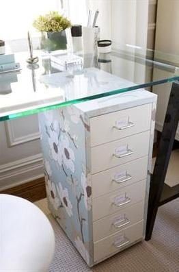 ... HGTVu0027s Pure Design   Love The Sawhorse Glass Top Desk And Look What  They Did? They Wrapped The File Cabinet In Pretty Blue White Brown Flower  Wallpaper!