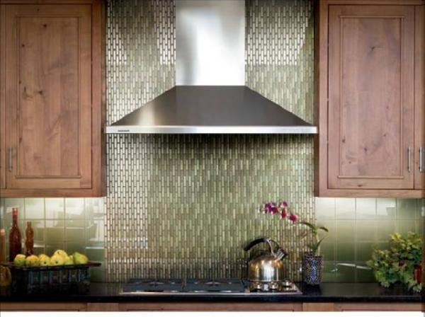 Crossville Tile Green Glass Tiles Backsplash, Black Granite Countertops And  Kitchen Cabinets.