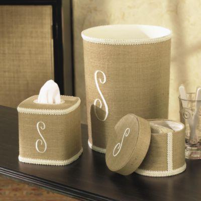 Monogram Beige Linen Bathroom Collection