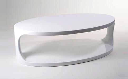 White Oval Bottom Shelf Coffee Table