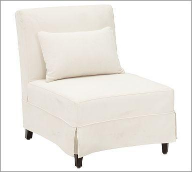 White Skirted Slipcovered Chair