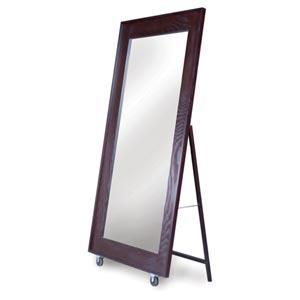 Brown Wooden Roller Floor Mirror