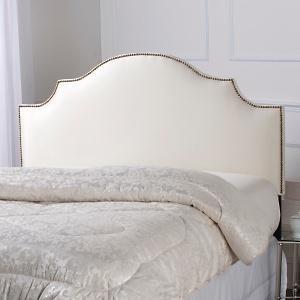Nailhead Trim Upholstered White Headboard