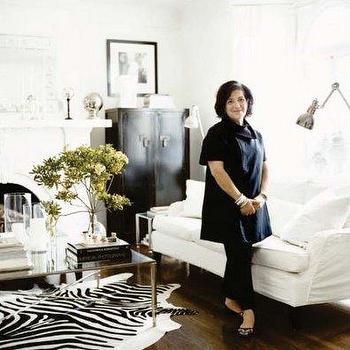 White and Black Living Room, Transitional, living room, Elle Decor