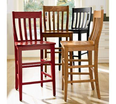 Pottery Barn Schoolhouse Wooden Barstool
