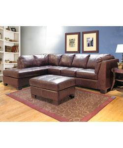 Chocolate Leather Sectional Sofa and Ottoman from Overstock.com