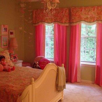 Pink Drapes, Traditional, girl's room, Benjamin Moore potpourri green