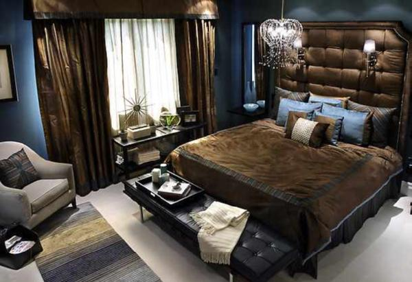 Divine Design   Chocolate And Navy Bedroom.