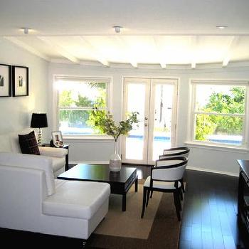 White Leather Sectional, Contemporary, living room