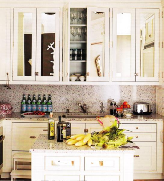 Beautiful Efficient Small Kitchens: Mirrored Cabinet Doors