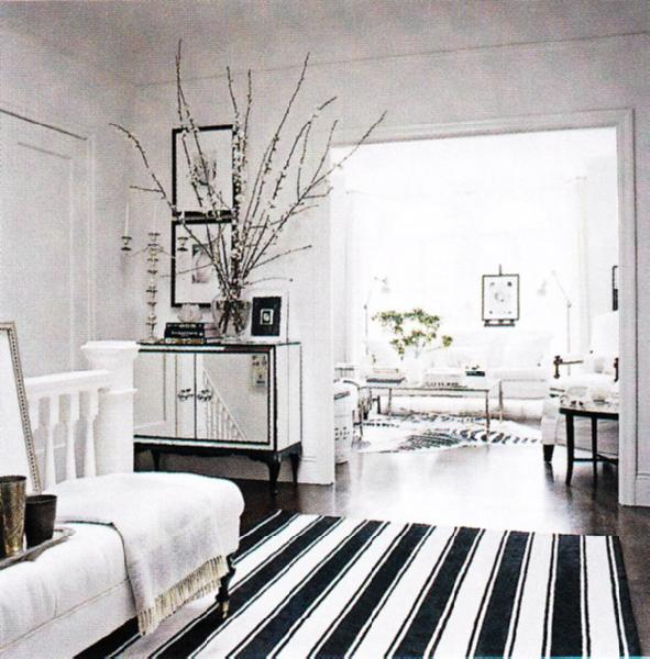 white and black living room - transitional - living room