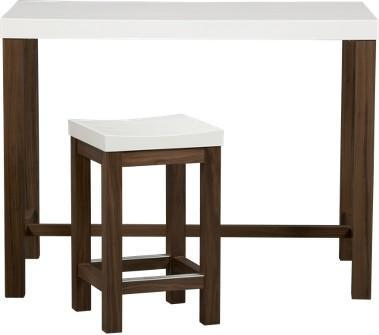 Crate and Barrel - Delano 5-Piece High Dining Table/Barstool Set ...